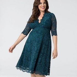 Kiyonna Teal Lace Mademoiselle Dress